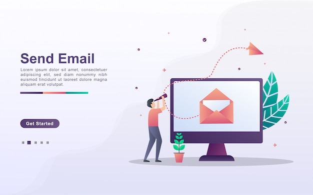 Landing page template of send email in gradient effect style