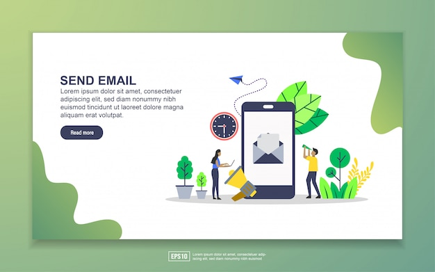 Landing page template of send email. modern flat design concept of web page design for website and mobile website