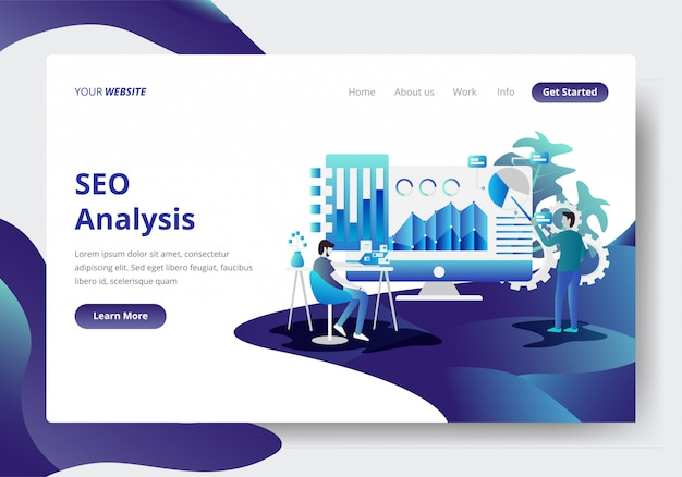 Landing page template of seo analysis concept
