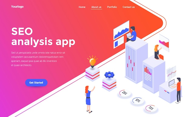 Landing page template of seo analysis in isometry style