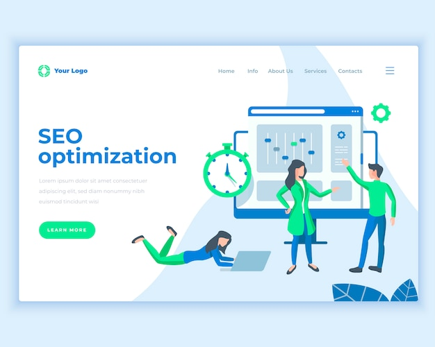 Landing page template seo optimization concept with office people.