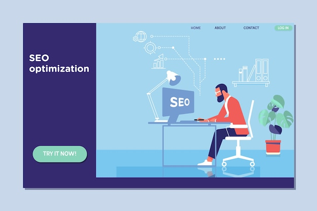 Landing page template of seo optimization for website