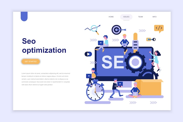 Landing page template of seo optimization