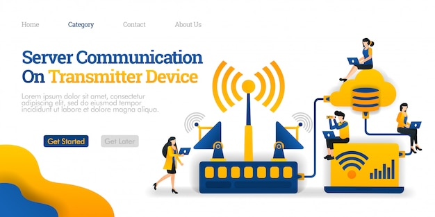 Landing page template. server communication on transmitter device. transmitter distributes data from database