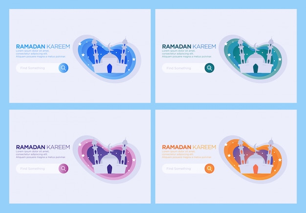 Landing page template, set of mosque web design template. happy ramadan.