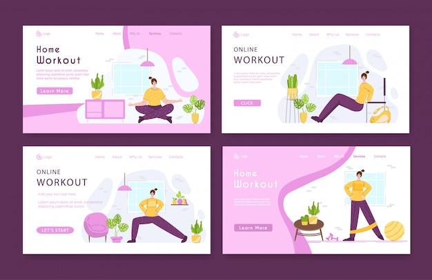 Набор шаблонов целевой страницы женщина делает спортивные упражнения и йогу дома.