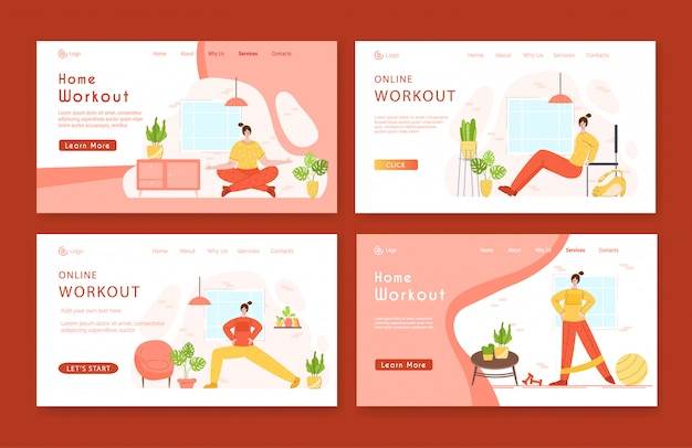 Landing page template set woman doing sport exercises and yoga at home.