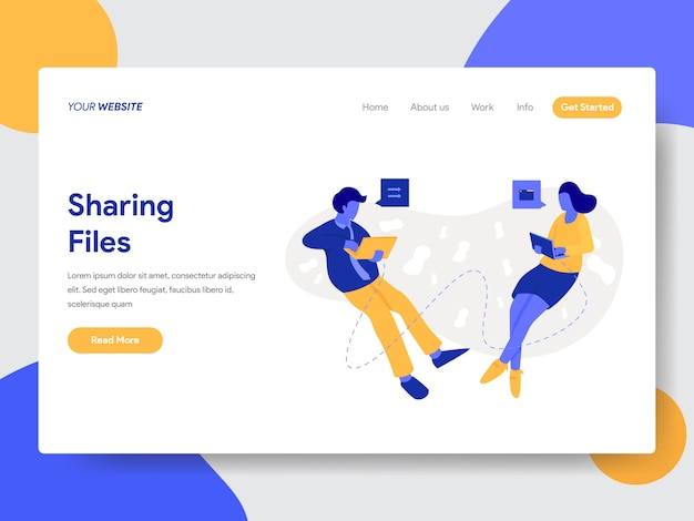 Landing page template of sharing files and documents illustration