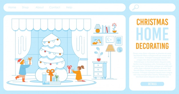 Landing page template for shop offering xmas decor