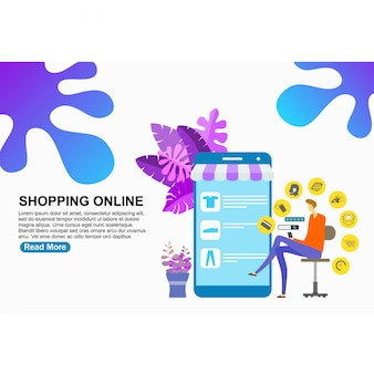 Landing page template shopping online