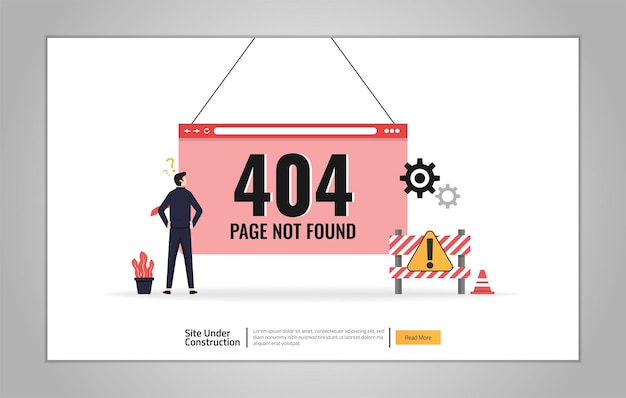 Landing page template of site is under construction concept. maintenance error symbol