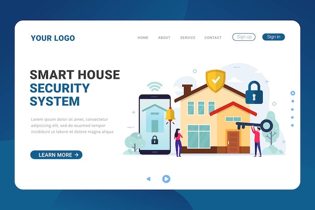 Landing page template for smart house security system
