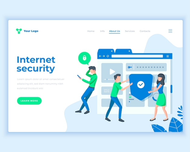 Landing page template social internet security concept with office people.