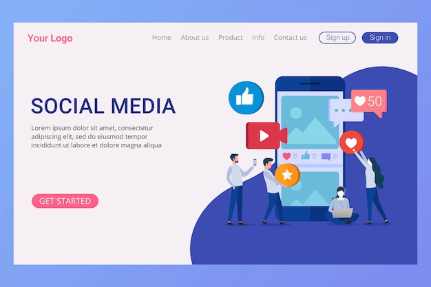 Landing page template social media concept