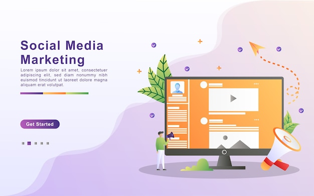 Landing page template of social media marketing in gradient effect style