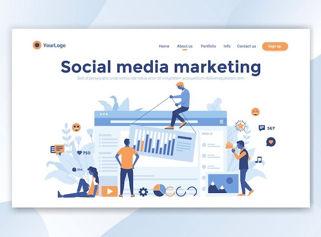 Landing page template of social media marketing. modern flat design for website
