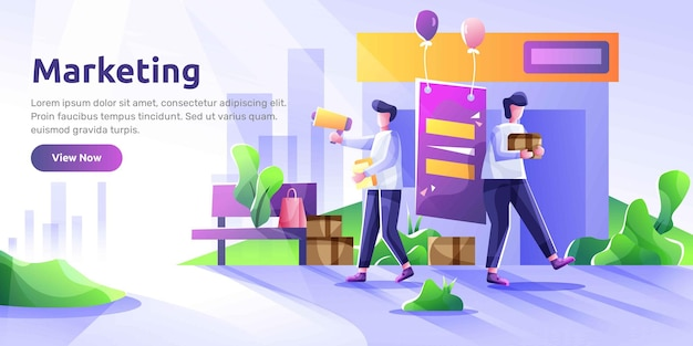 Landing page template of social media marketing. modern illustration