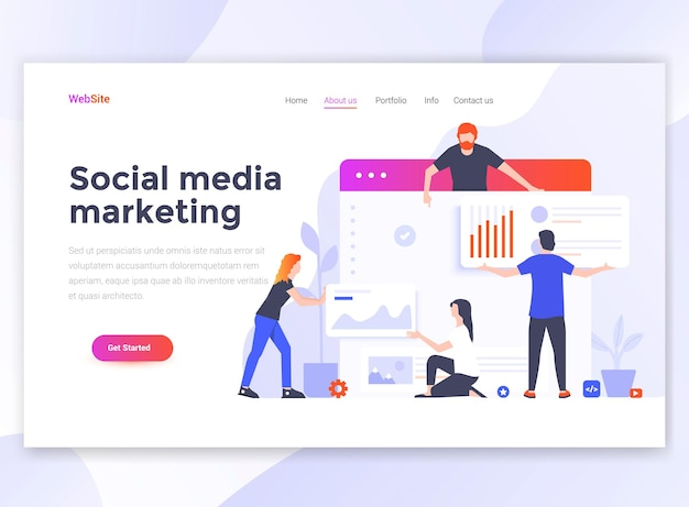 Landing page template of social media marketing.