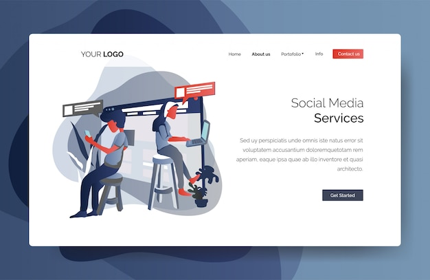 Landing page template of social media services