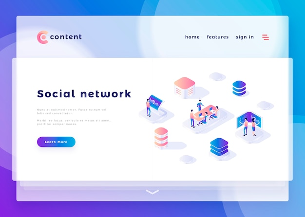 Landing page template for social network office people and interact with computers vector illustration