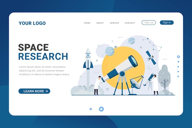 Landing page template for space research