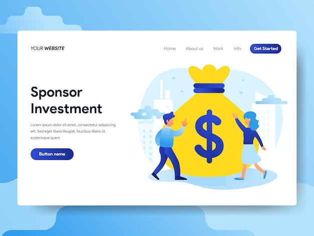 Landing page template of sponsorship investment