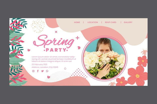 Landing page template for spring party with woman and flowers