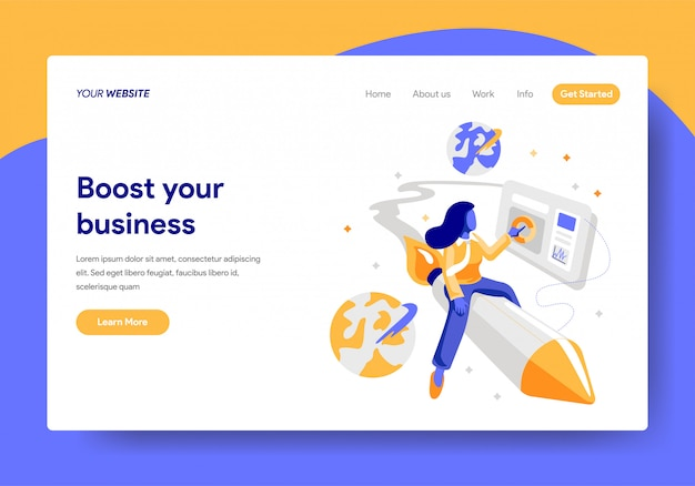 Landing page template of startup business concept