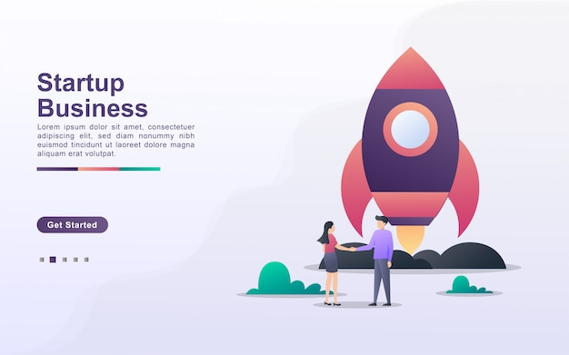 Landing page template of startup business in gradient effect style