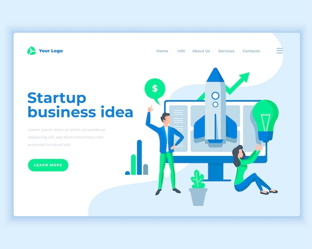 Landing page template startup business ideas concept with office people.