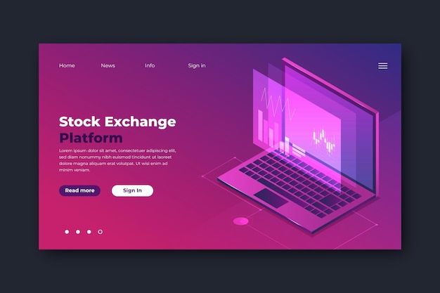 Landing page template stock exchange platform