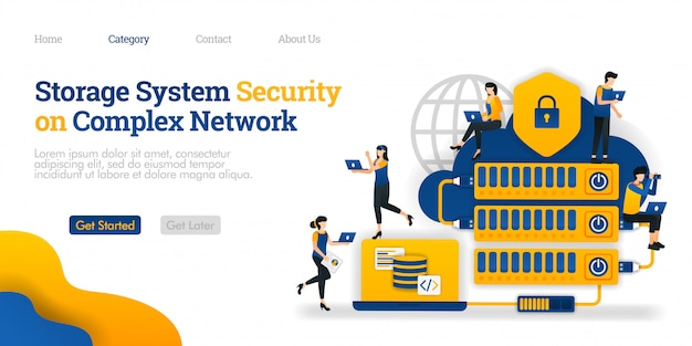 Landing page template. storage system security in complex network. hosting made complicated for data security