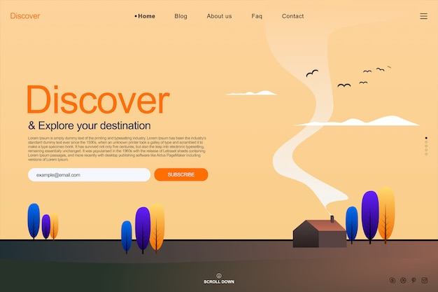 Landing page template in summer sky concept