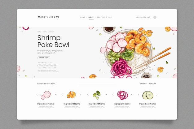 Landing page template for sushi bistro