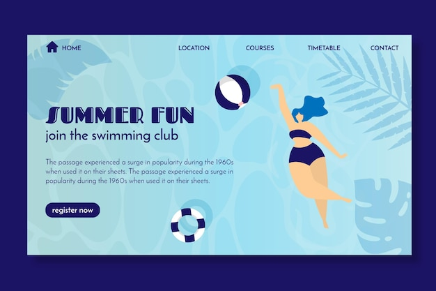 Landing page template for swimming club