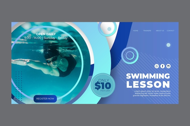 Landing page template for swimming lessons