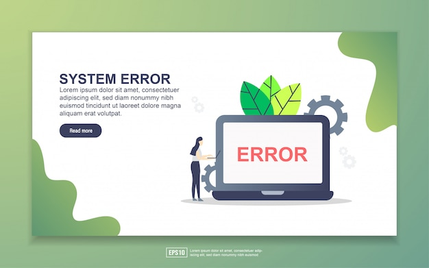 Landing page template of system erro