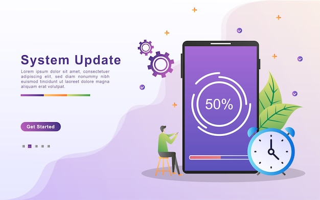 Landing page template of system update in gradient effect style
