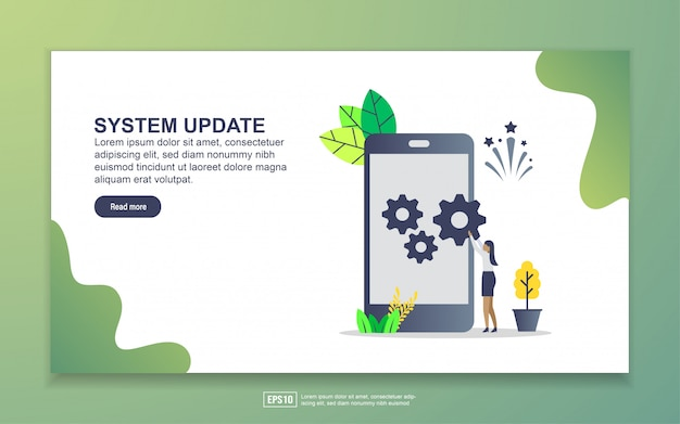 Landing page template of system update. modern flat design concept of web page design for website and mobile website.