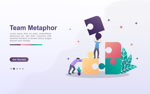 Landing page template of team metaphor