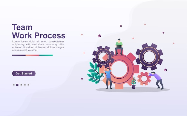 Landing page template of team work process