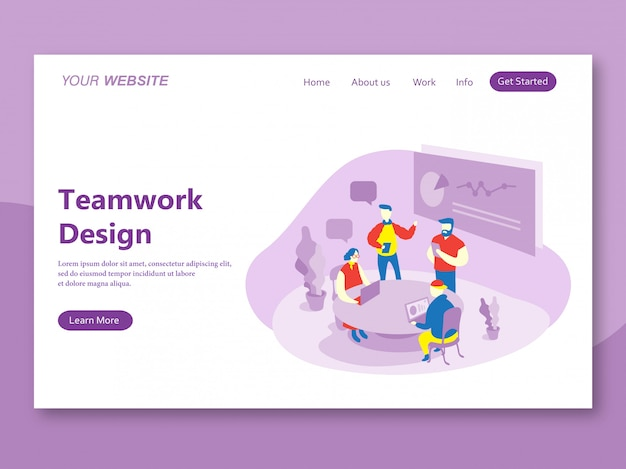 Landing page template of teamwork design purple domination
