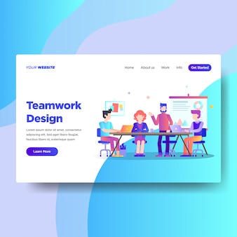 Landing page template of teamwork design