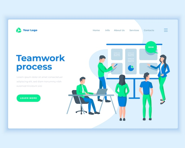 Landing page template teamwork process concept with office people.