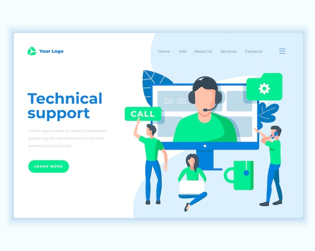 Landing page template technical support concept with office people.