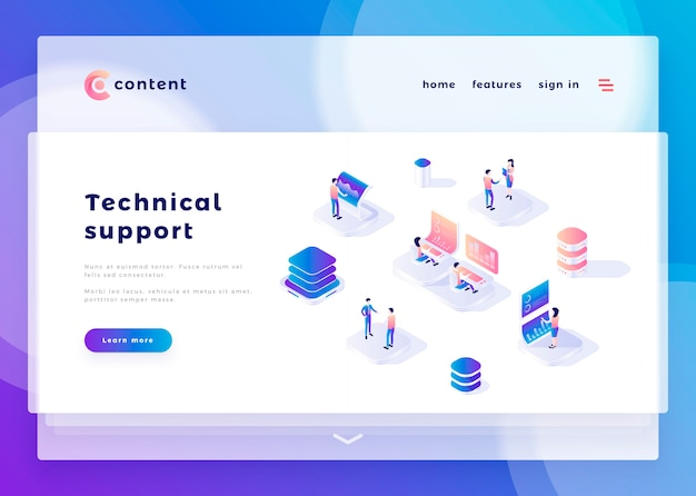 Landing page template for technical support office people and interact with computers vector illustration