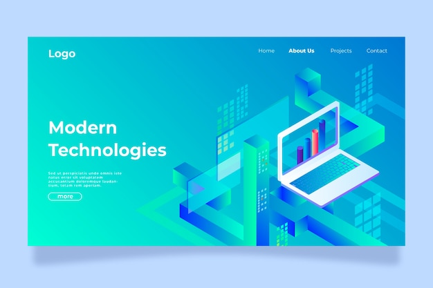 Landing page template technology concept