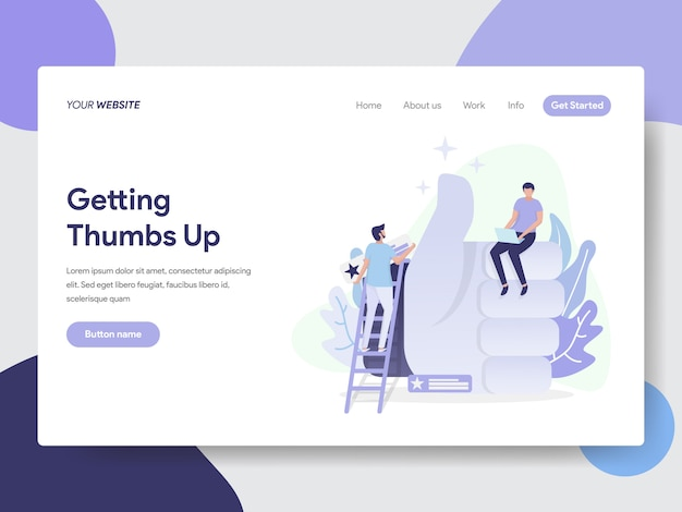 Landing page template of thumbs up illustration concept