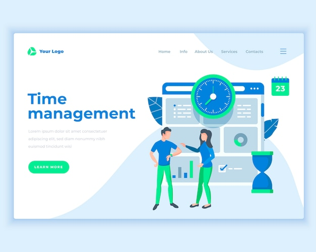 Landing page template time management concept with office people.