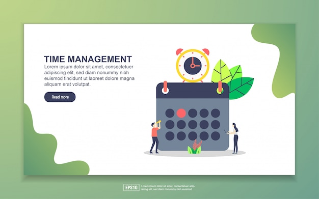 Landing page template of time management. modern flat design concept of web page design for website and mobile website.